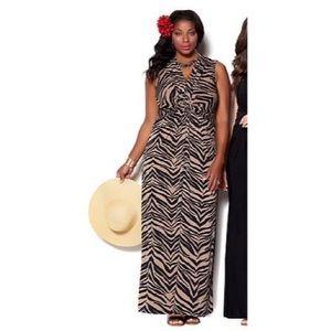 NWT Iman Global Chic Animal Print Maxi Dress
